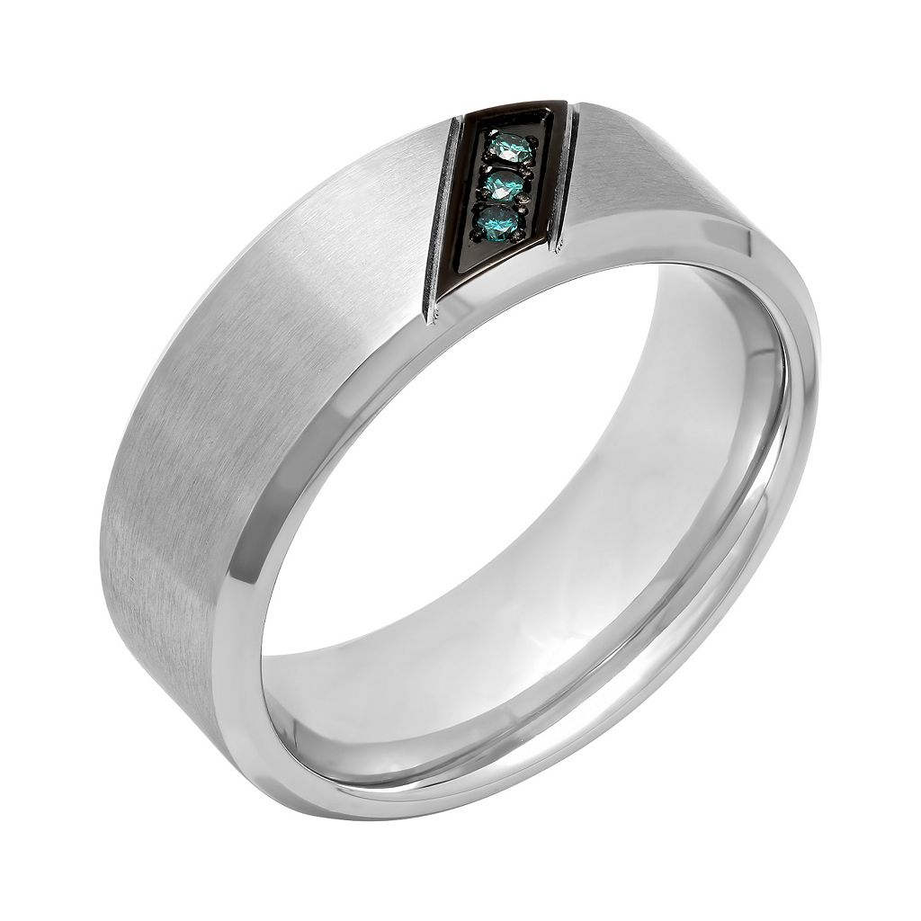 Men's Stainless Steel Blue Diamond Accent Ring