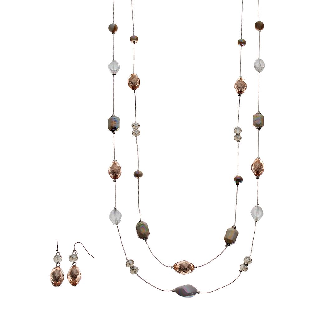 Beaded Double Strand Station Necklace & Drop Earring Set