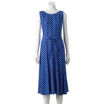 Women's Perceptions Polka-Dot Midi Dress