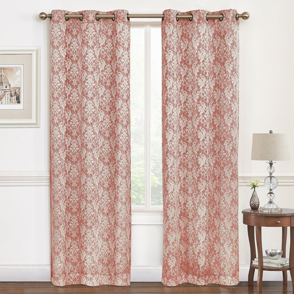 Regal Hampton Damask Jacquard Window Curtain Set