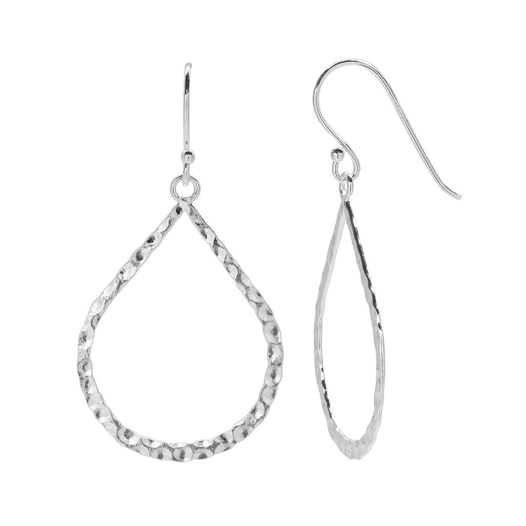 PRIMROSE Sterling Silver Hammered Teardrop Earrings