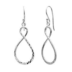 PRIMROSE Sterling Silver Textured Infinity Drop Earrings