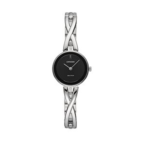 Citizen Eco-Drive Women's Silhouette Crystal Stainless Steel Half-Bangle Watch - EX1420-50E