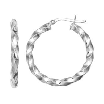 PRIMROSE Sterling Silver Twist Hoop Earrings