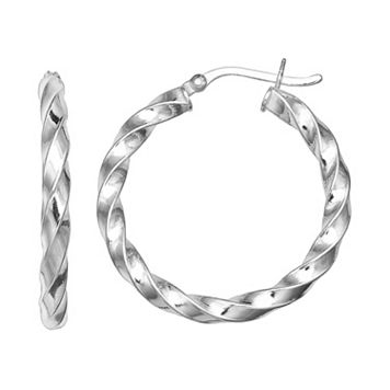PRIMROSE Sterling Silver Twist Hoop Earrings