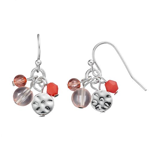 Chaps Hammered Disc Beaded Cluster Drop Earrings