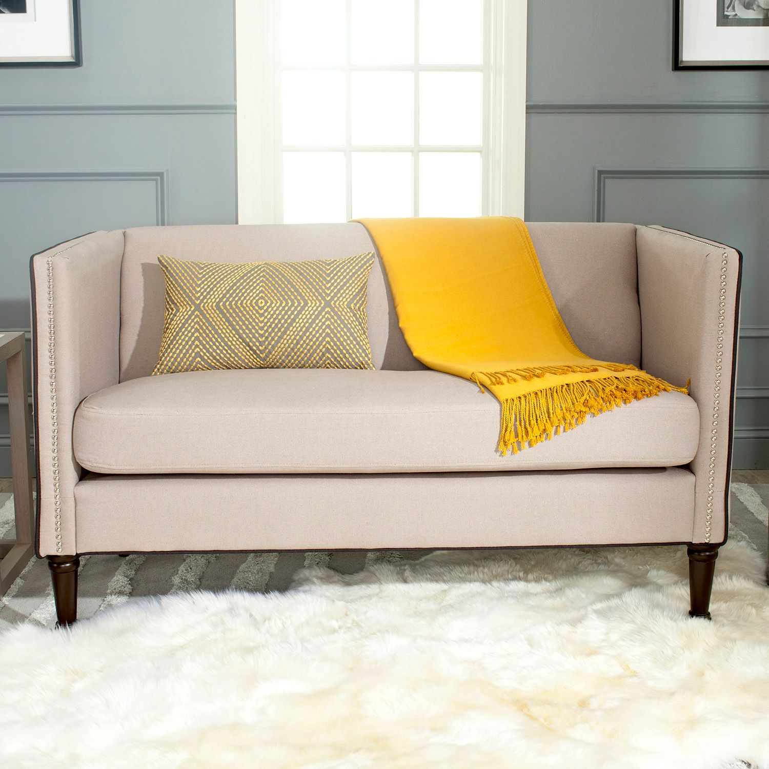 Superieur Safavieh Sarah Tufted Gray Settee Loveseat. Sale
