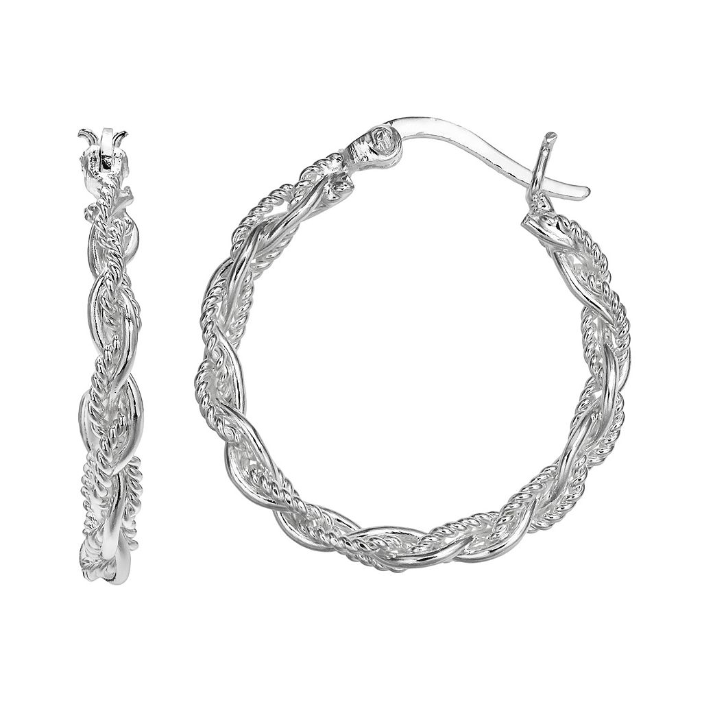 PRIMROSE Sterling Silver Braided Hoop Earrings