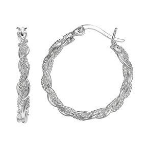 PRIMROSE Sterling Silver Braided Hoop Earrings