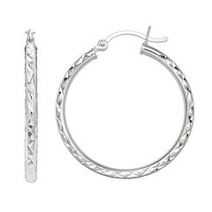 PRIMROSE Sterling Silver Textured Hoop Earrings