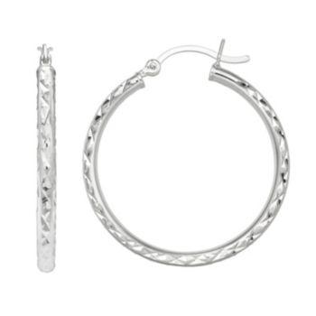 PRIMROSE Sterling Silver Textured Hoop Earrings