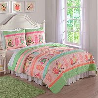 Owl Stripe Quilt Set