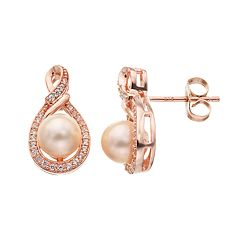 14k Rose Gold Over Silver Freshwater Cultured Pearl & Lab-Created White Sapphire Teardrop Earrings