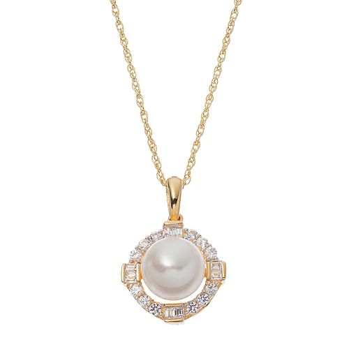 14k Gold Over Silver Freshwater Cultured Pearl & Lab-Created White Sapphire Halo Pendant