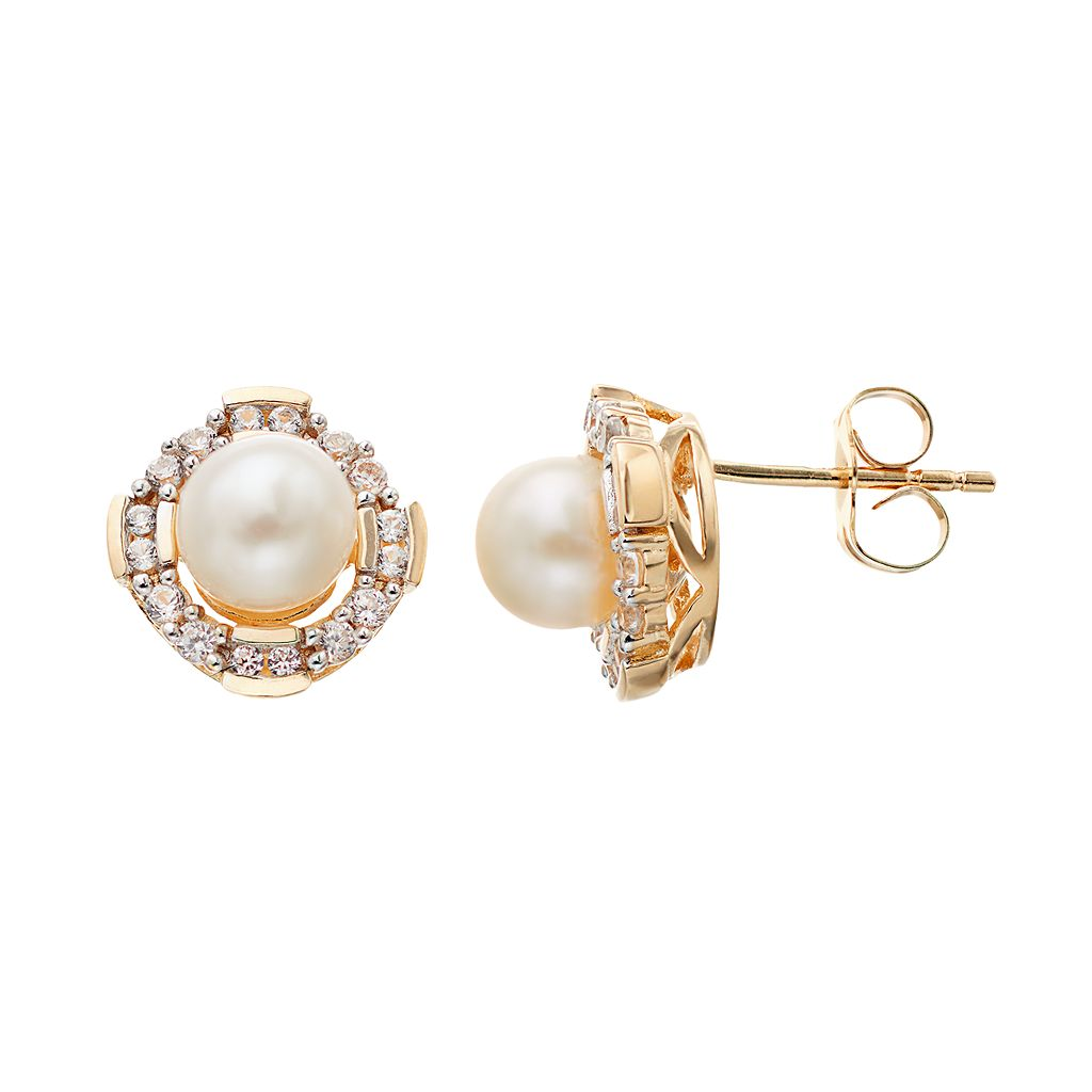14k Gold Over Silver Freshwater Cultured Pearl & Lab-Created White Sapphire Halo Stud Earrings