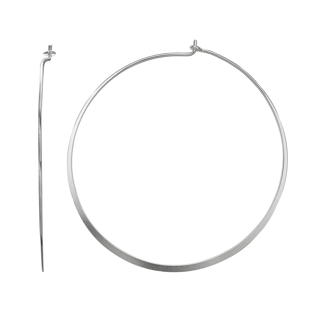 PRIMROSE Sterling Silver Flat Hoop Earrings