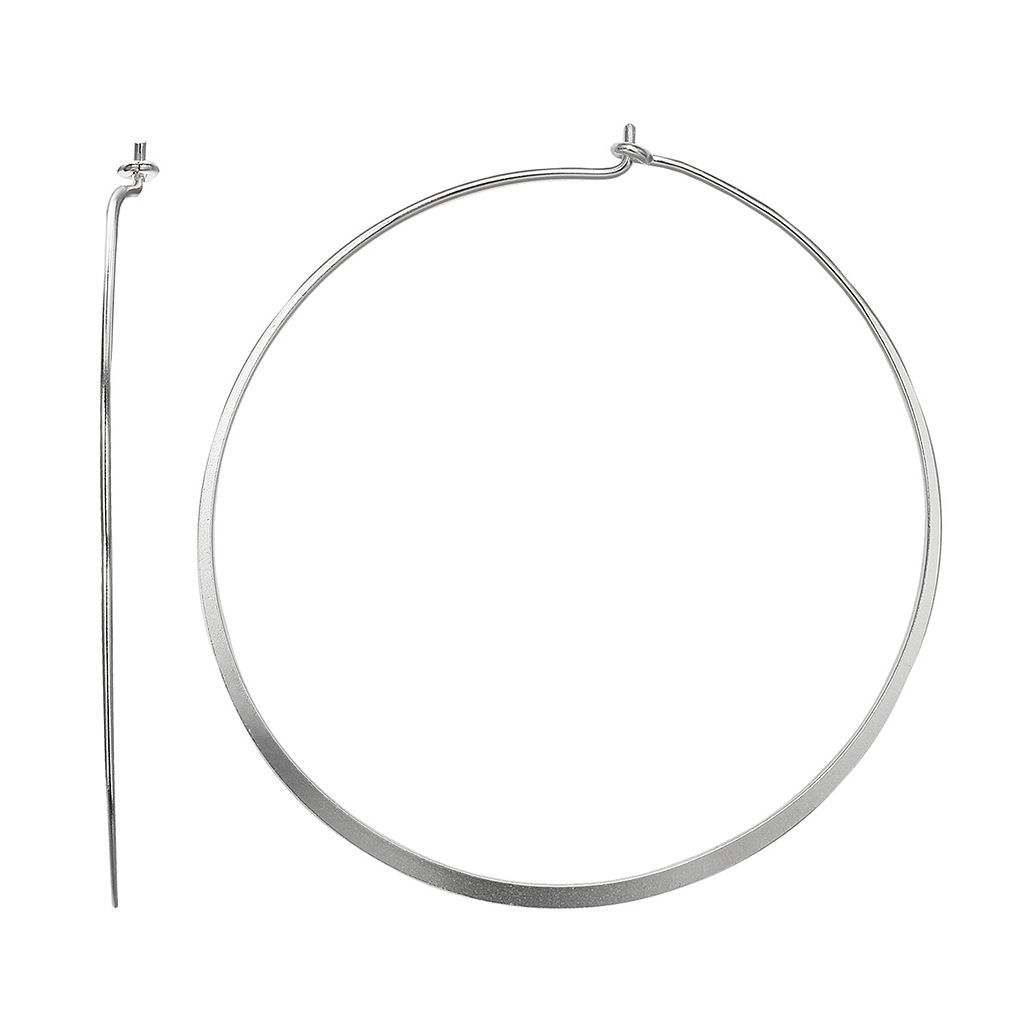 PRIMROSE Sterling Silver Flat Hoop Earrings