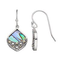 Tori Hill Sterling Silver Abalone & Marcasite Teardrop Earrings