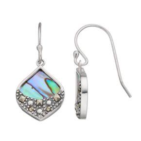 Tori Hill Sterling Silver Abalone & Marcasite Teardrop Earrings