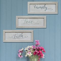 Stratton Home Decor 'Family, Love and Faith' Framed Wall Art 3-piece Set