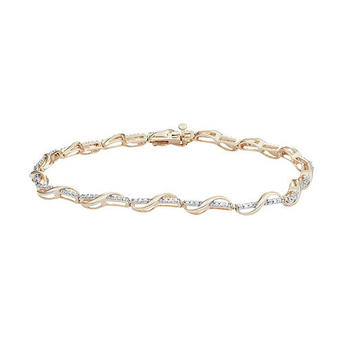 18k Gold Over Silver 1/10 Carat T.W. Diamond Twist Bracelet