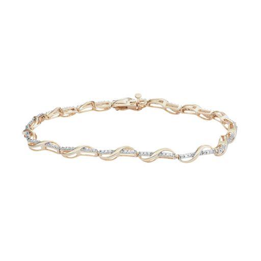 18k Gold Over Silver 1/10 Carat T.W. Diamond Twist Bracelet