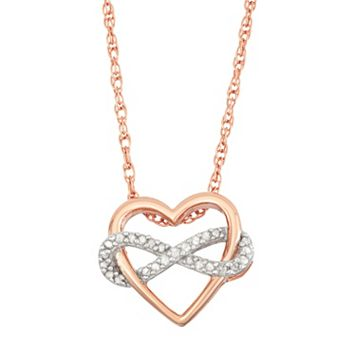 18k Rose Gold Over Silver 1/6 Carat T.W. Diamond Infinity Heart Pendant