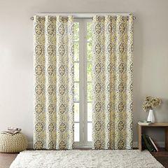 Intelligent Design 1-Panel Rimini Cotton Medallion Printed Window Curtain