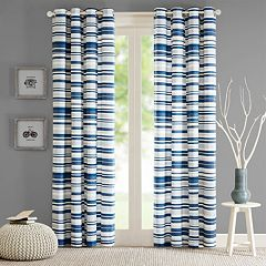Intelligent Design 1-Panel Strider Cotton Stripe Printed Window Curtain