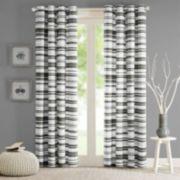 Intelligent Design 1-Panel Strider Cotton Stripe Printed Window Curtain
