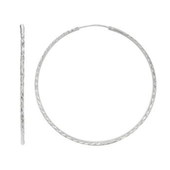PRIMROSE Sterling Silver Textured Endless Hoop Earrings