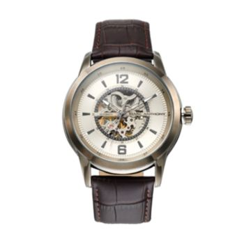 Marc Anthony Men's Smooth Sophistication Leather Automatic Skeleton Watch