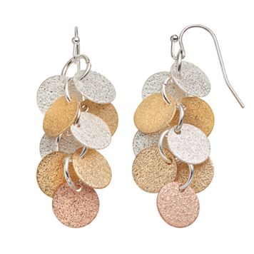 Tri Tone Textured Disc Cluster Drop Earrings