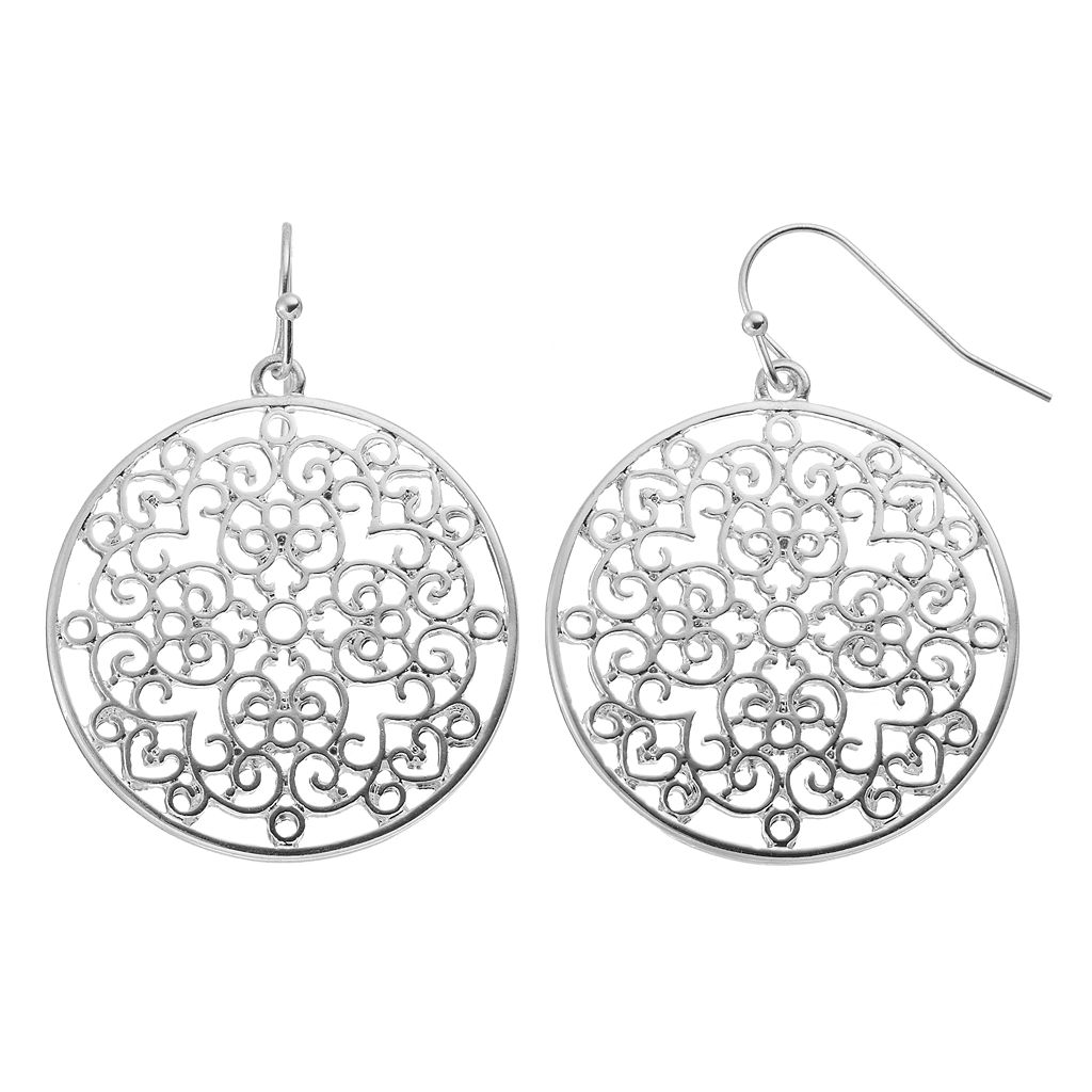 Scrollwork Disc Drop Earrings