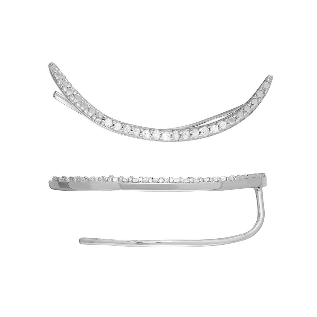 Sterling Silver 1/8 Carat T.W. Diamond Crescent Ear Crawler Earrings