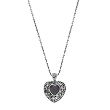 Sterling Silver Cubic Zirconia Bali Heart Pendant Necklace