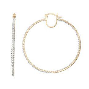 18k Gold Over Silver 1/2 Carat T.W. Diamond Inside-Out Hoop Earrings