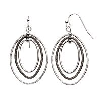 Textured Two Tone Triple Oval Drop Hoop Earrings