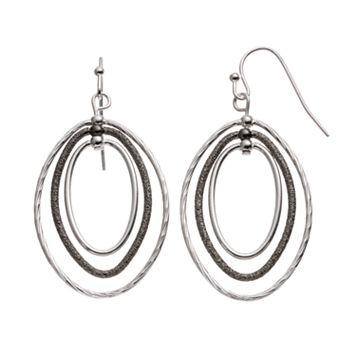 Textured Two Tone Triple Oval Drop Hoop Earrings