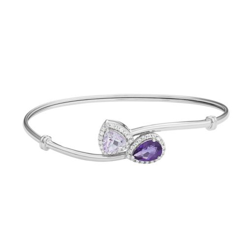 Amethyst & Rose de France Amethyst Sterling Silver Bypass Bangle Bracelet