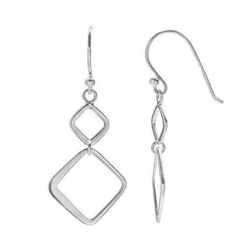 PRIMROSE Sterling Silver Double Square Drop Earrings