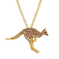 Animal Planet 18k Gold Over Silver Crystal Kangaroo Pendant