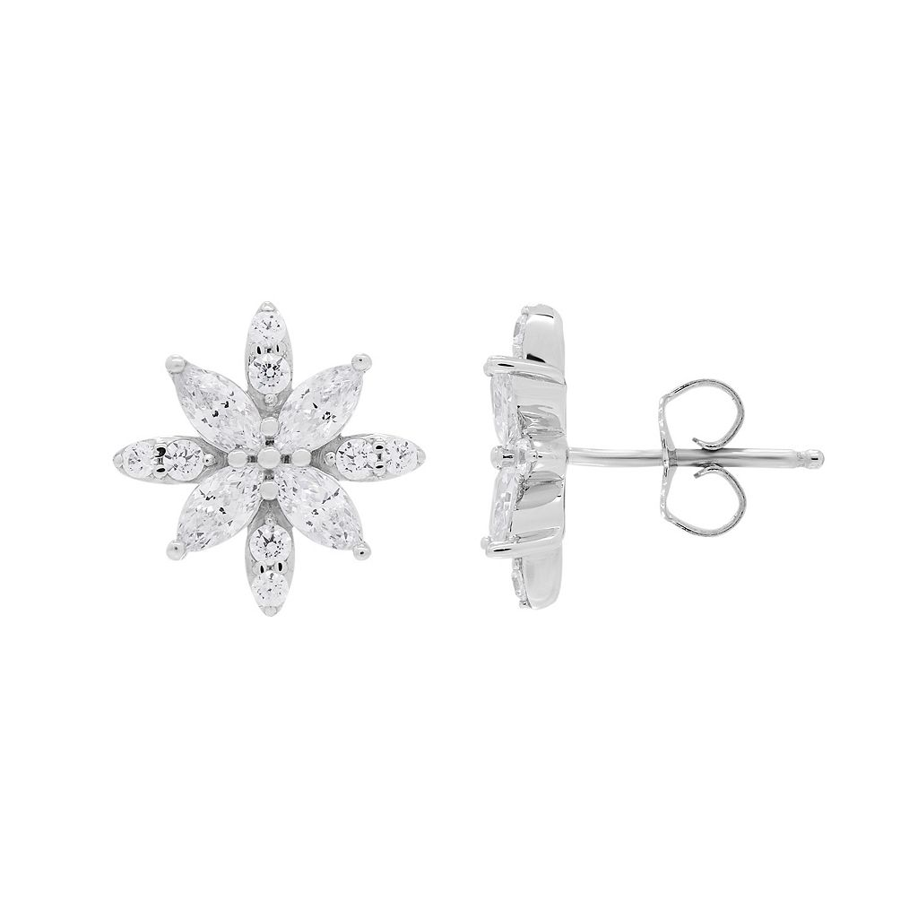 EmotionsSterling Silver Cubic Zirconia Flower Stud Earrings