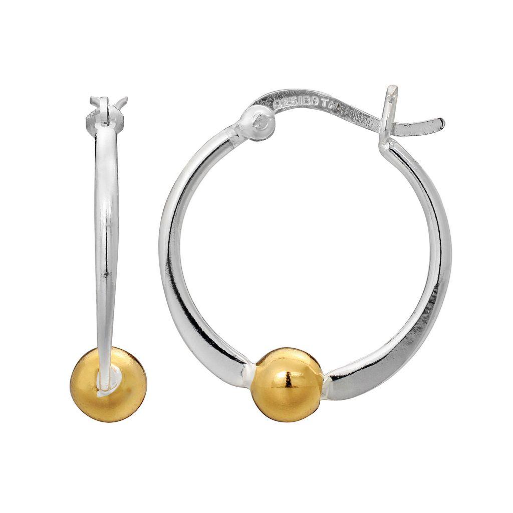 PRIMROSE Two Tone Sterling Silver Ball Hoop Earrings