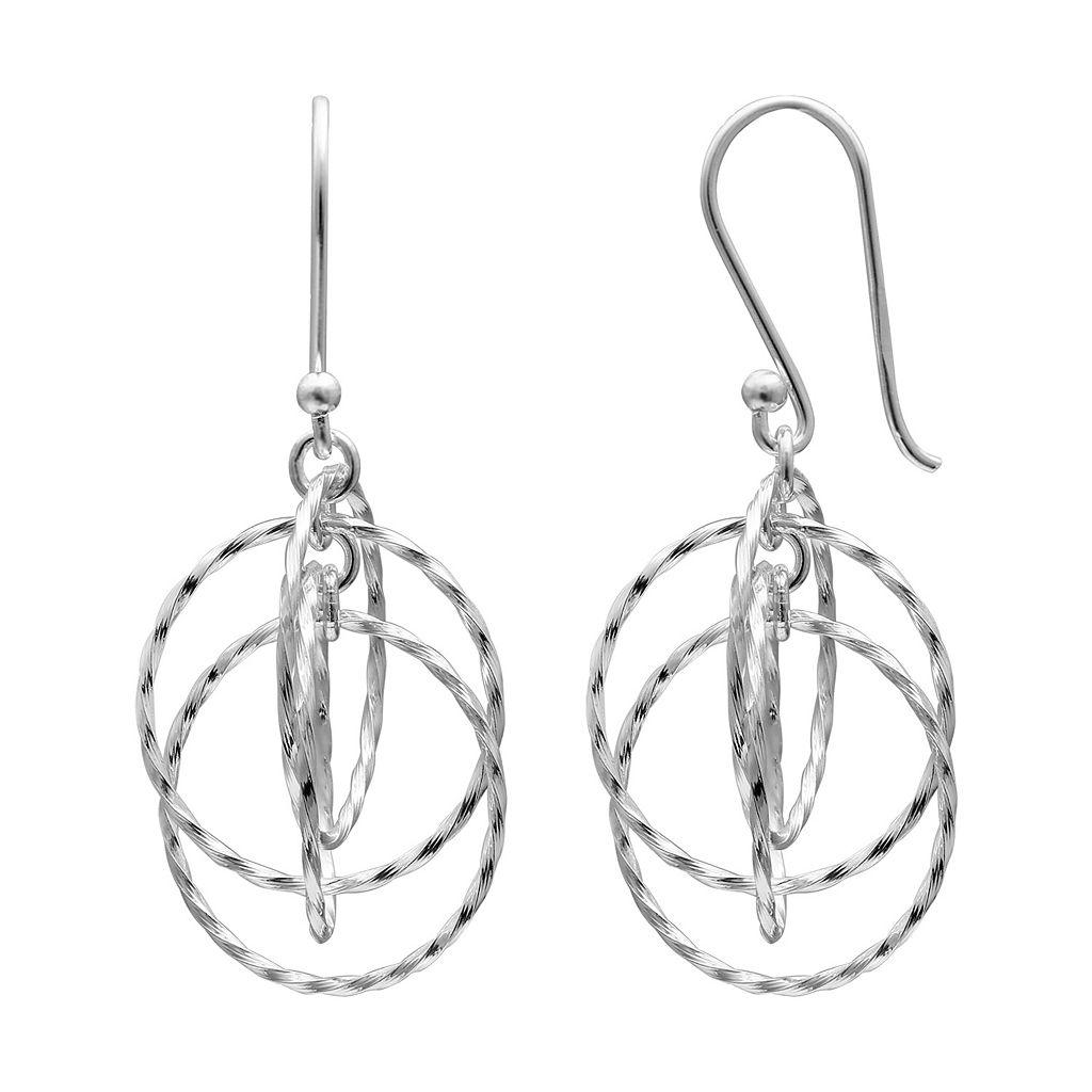 PRIMROSE Sterling Silver Twist Circle Drop Earrings