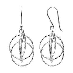 PRIMROSE Sterling Silver Twist Circle Drop Earrings