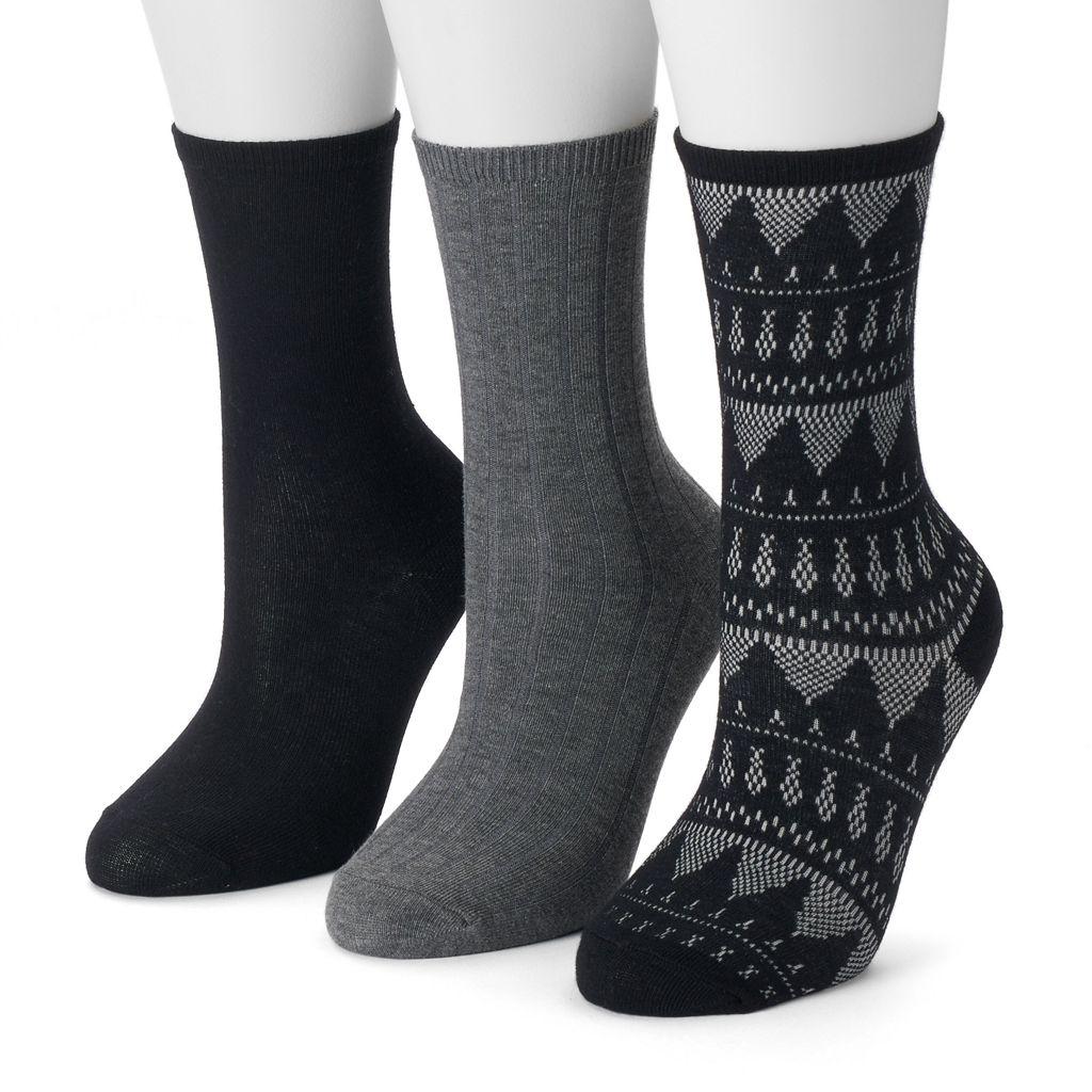 Women's SONOMA Goods for Life™ 3-pk. Fairisle Crew Socks