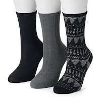 Women's SONOMA Goods for Life™ 3-pk. Fairisle Crew Socks