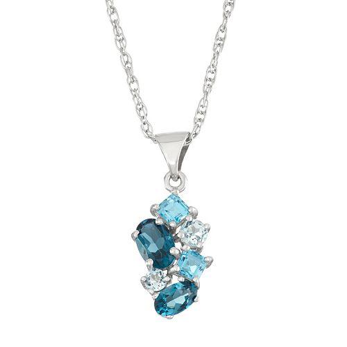 Sterling Silver London Blue Topaz, Swiss Blue Topaz & Sky Blue Topaz Cluster Pendant Necklace