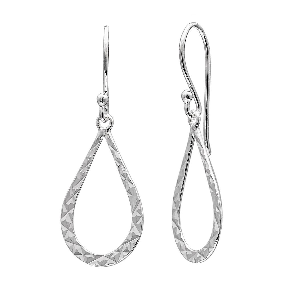 PRIMROSE Sterling Silver Textured Teardrop Earrings